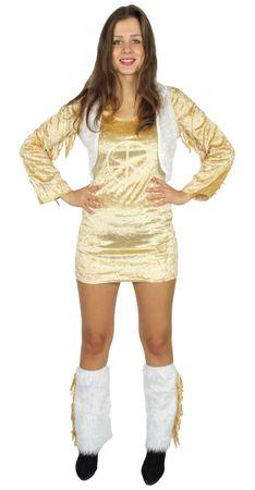 70er Jahre Peace Kleid kurz mit plüschigen Stulpen Hippiekleid Gr. XS - L