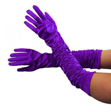Deluxe Handschuhe lang lila glänzend lange Hand schuhKostüm
