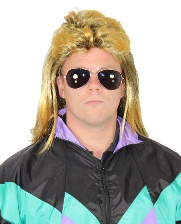 80er blonde Vokuhila Rockperücke Herren