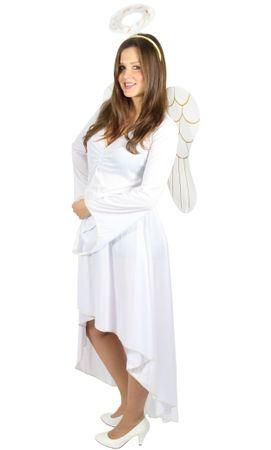 Engelskostüm weiß Damen Kleid mit Heiligenschein und Flügel r. S - XXL