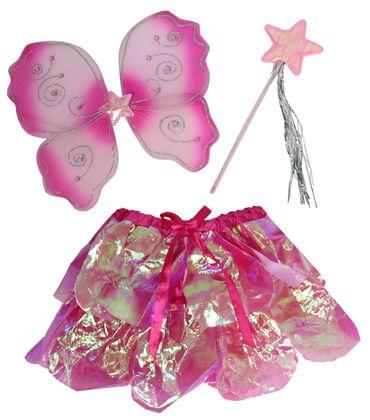 Feenset rosa pink Kostüm Flügel Schmetterling