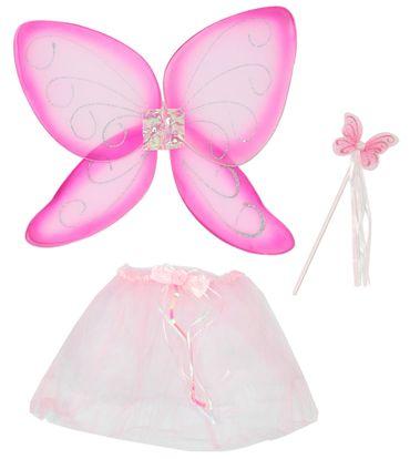 Schmetterlingsset rosa pink Kostüm Flügel Schmetterling