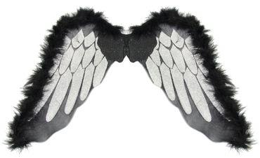 Engelsflügel schwarz mit silber Halloween Engel Flügel