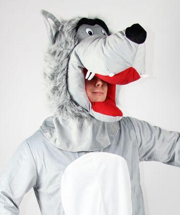 Wolfskostüm mit großem Kopf Gr. M-XXL