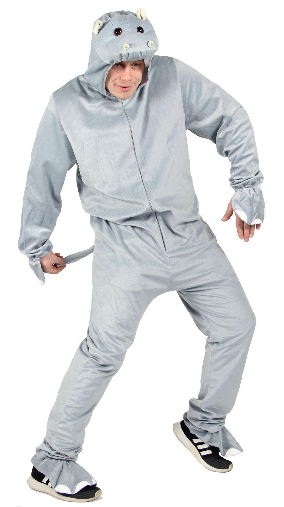 hippo nilpferd overall f r erwachsene grau kost m online shop kost me per cken masken zubeh r. Black Bedroom Furniture Sets. Home Design Ideas