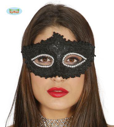 Venezianische Maske in schwarz und glitzernd