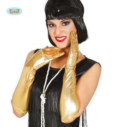 goldene lange Deluxe Handschuhe glänzend  44cm