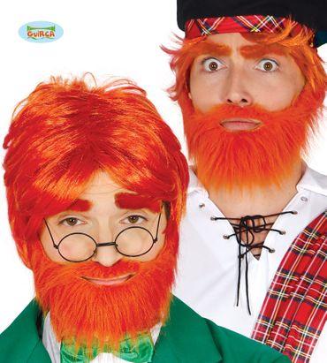 rote Perücke Irischer Kobold mit Bart für Erwachsene
