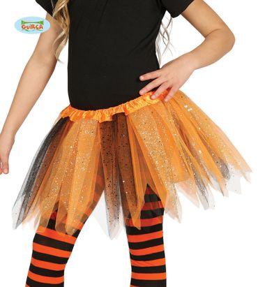 Tütü Tutu orange schwarz mit Glitzer für Kinder ca. 30cm