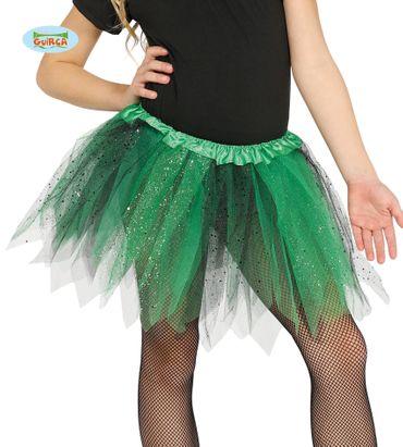 Tütü Tutu grün schwarz mit Glitzer für Kinder ca. 30cm