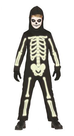 Im Dunkeln leuchtendes Skelett für Kinder Gr. 98 - 146