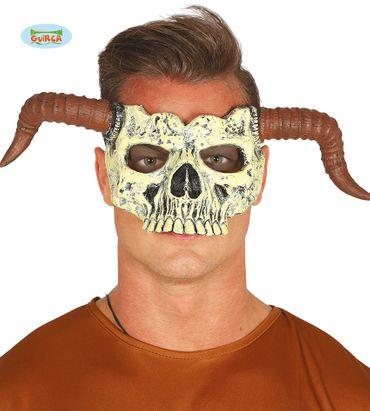 gruselige Dämon Halbmaske Dämonmaske mit Hörnern
