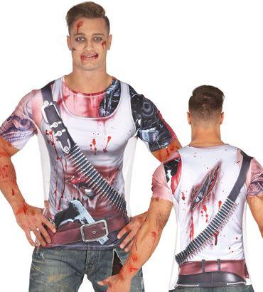 blutverschmiertes T-Shirt für Halloween Herren Gr. M/L