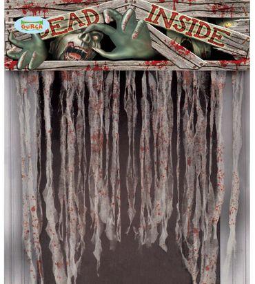 Halloween Vorhang für Tür mit Zombiemotiv 95x135 cm