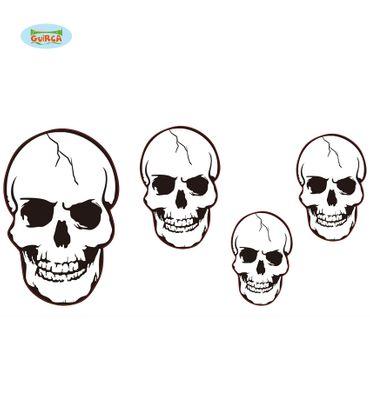 Halloween Aufkleber Schädel Totenkopf Set aus 4 Stück