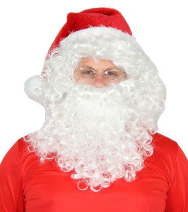 4tlg. Set Weihnachtsmann Mütze, Perücke, Bart, Brille