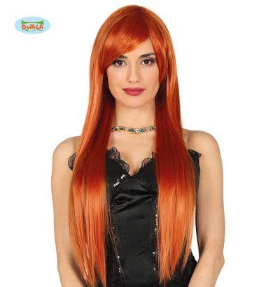 Deluxe lange rote orange Perücke für Damen