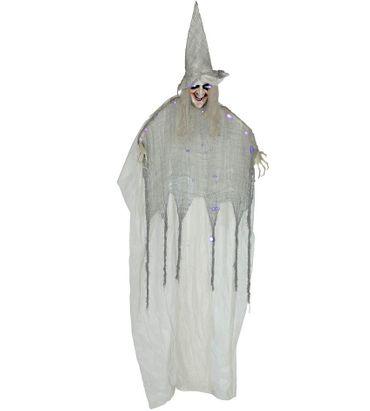 gruselige Geister Hexe Frau weiß mit Licht und Ton ca 150 cm