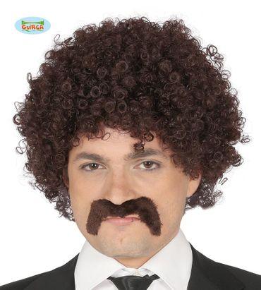 braune Afro Perücke mit Bart für Herren