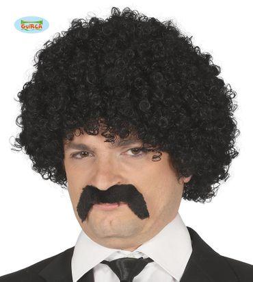 schwarze Afro Perücke mit Bart für Herren