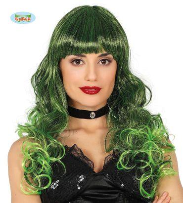 Damenperücke lang lockig schwarz grün Perücke