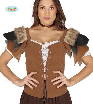 braune Weste Mittelalter Ritter für Damen