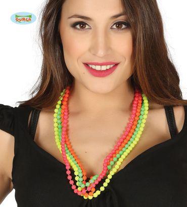 80er Jahre Perlenkette neon Farben Kette für Damen