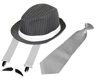 Deluxe Gangster Set   Hosenträger - Krawatte - Hut - Bart