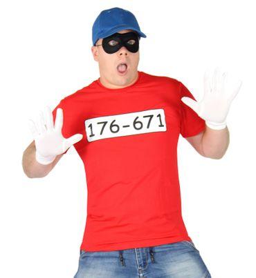 Bankräuber Kostüm für Herren mit - T-Shirt - Maske - Mütze und Handschuhen - Fasching und Karneval Kostüme für Paare