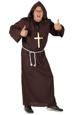 Deluxe Mönch Kostüm braun lang