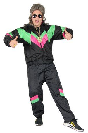 80er Jahre Premium Trainingsanzug für Herren - schwarz grün pink