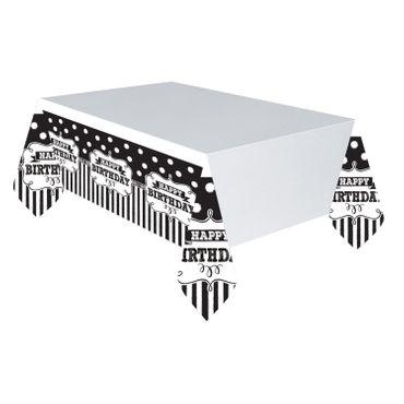 Chalkeboard Tischdecke Black & White Happy Birthday