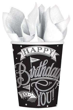 18 Trink-Becher Happy Birthday Black & White Chalkboard