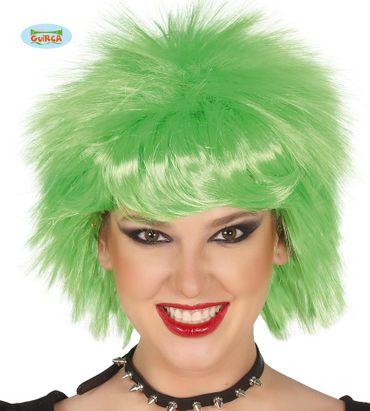 neongrüne Rockstar Punk Perücke für Damen