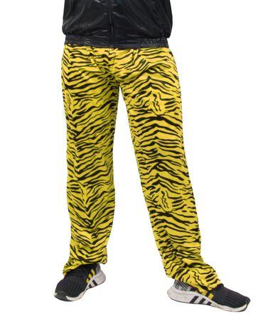 80er Jahre Herren Jogginghose im Zebra Look für Jungen Kostüm - schwarz gelb - Größe S bis XXXL