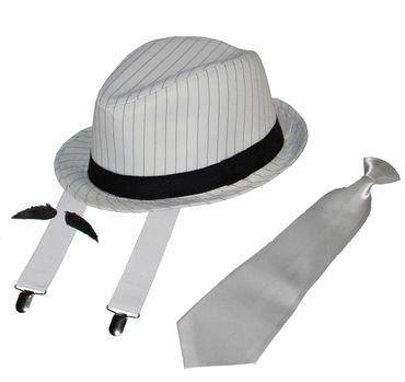 Deluxe Gangster Set | Hosenträger - Krawatte - Hut - Bart