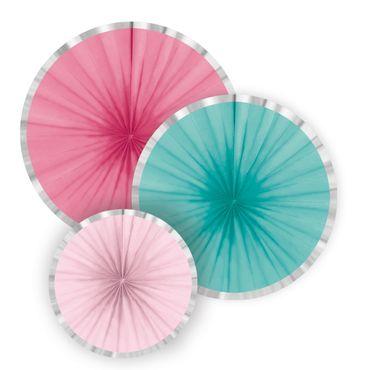 3 Hängende Dekofächer Pink türkis Rosa mit Silberrand