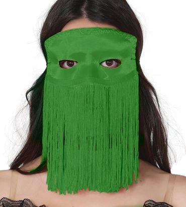 grüne sexy venezianische Maske mit langen Fransen für Damen