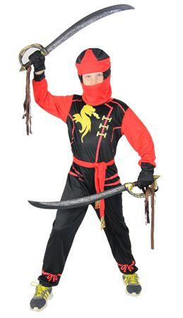 Drachen Ninja Kostüm für Jungen schwarzes Ninjakostüm Kinderkostüm