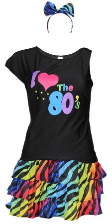 buntes 80er Jahre Damen Kostüm Set