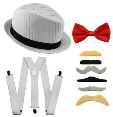 [Paket] 20er Jahre Gangster Kostüm Set I Hut - Hosenträger - Fliege - Bärte I Weiß - Rot