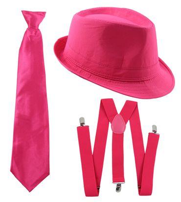 Gangster Kostüm Set I Hut - Hosenträger - Krawatte I Pink