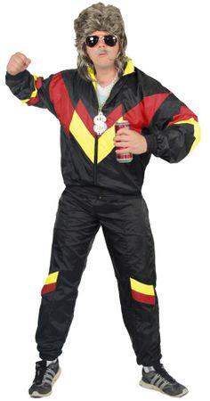 80er Jahre Trainingsanzug Kostüm für Herren - schwarz rot gelb