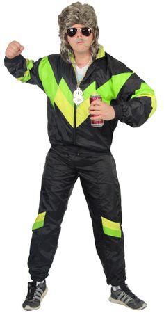 80er Jahre Trainingsanzug Kostüm für Herren - schwarz grün gelb