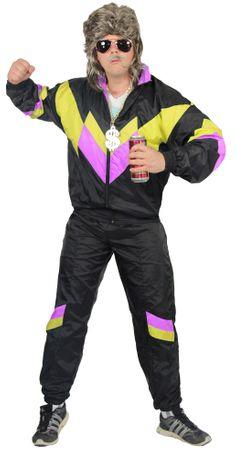 80er Jahre Trainingsanzug Kostüm für Herren - schwarz gelb pink