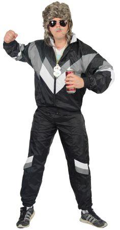 80er Jahre Trainingsanzug Kostüm für Herren - schwarz grau weiss
