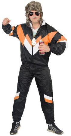 80er Jahre Trainingsanzug Kostüm für Herren - schwarz orange weiss