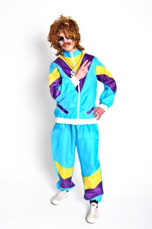 Foxxeo 80er Jahre Kostüm Trainingsanzug Assianzug Assi