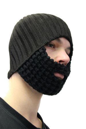 Beanie schwarz Mütze mit Bart