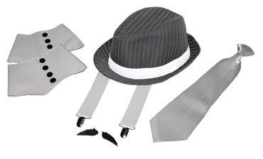 Deluxe Gangster Set | Hosenträger - Krawatte - Hut - Gamaschen - Bart